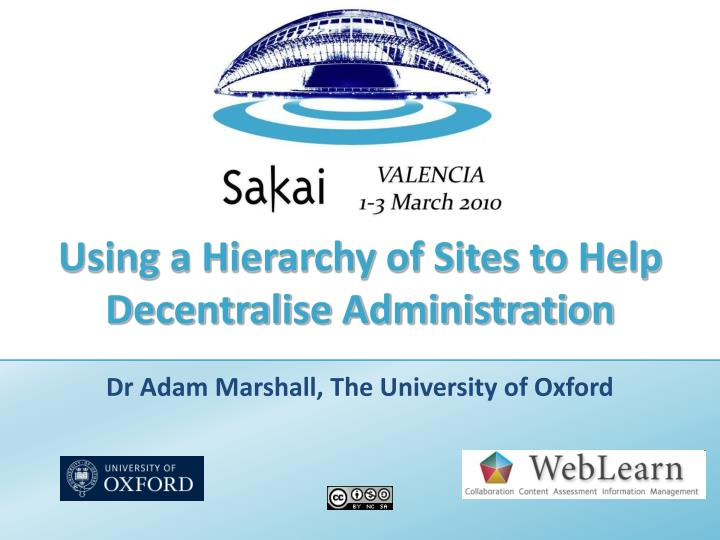 Using a hierarchy of sites to help decentralise administration