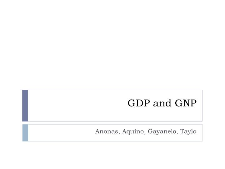 gdp and gnp n.