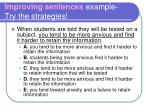 improving sentences example try the strategies