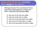 improving sentences example what is wrong with the sentence