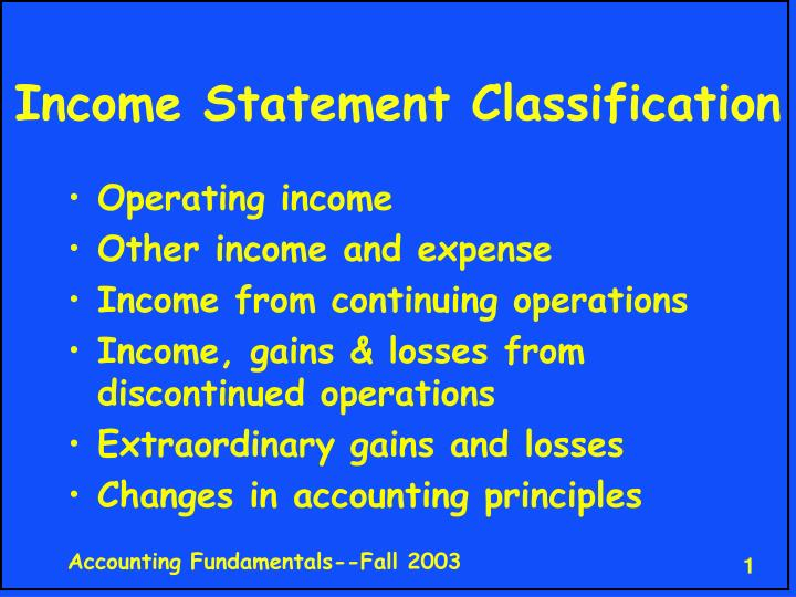 income statement classification n.