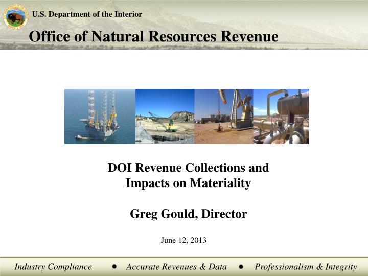 doi revenue collections and impacts on materiality greg gould director n.