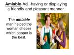 amiable adj having or displaying a friendly and pleasant manner