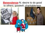 benevolence n desire to do good to others goodwill charitableness