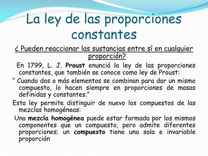 La ley de las proporciones constantes