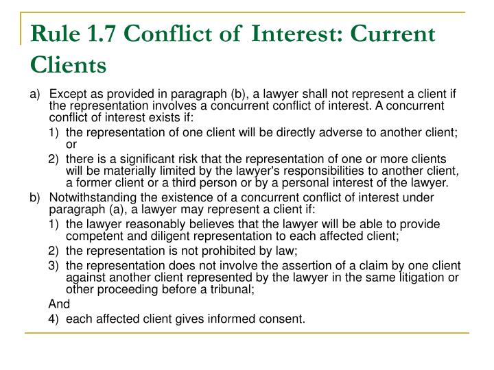 Rule 1.7 Conflict of Interest: Current Clients