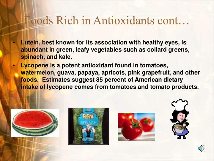 Foods Rich in Antioxidants cont…