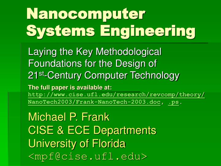nanocomputer systems engineering n.