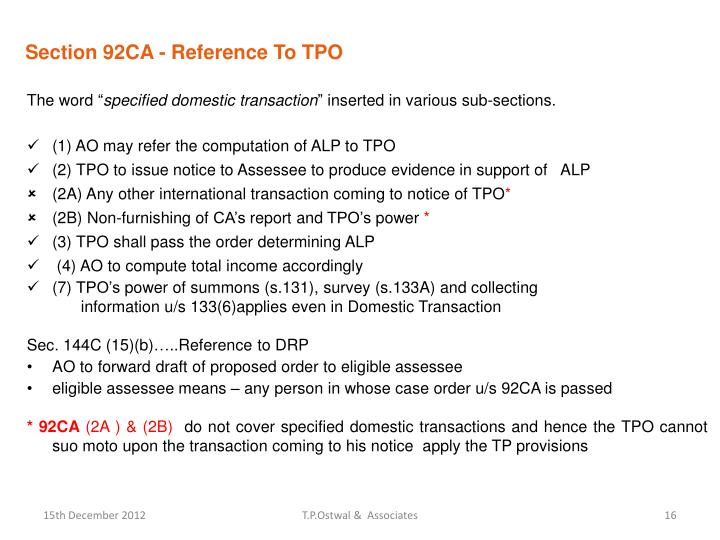 Section 92CA - Reference To TPO