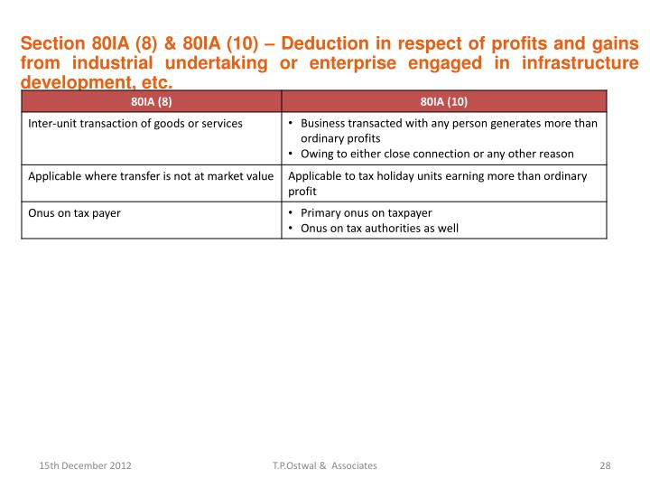 Section 80IA (8) & 80IA (10) – Deduction in respect of profits and gains from industrial undertaking or enterprise engaged in infrastructure development, etc.