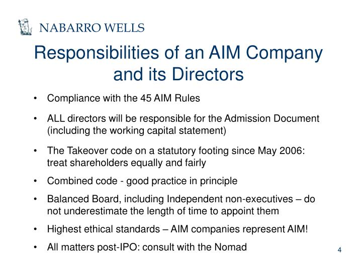 Responsibilities of an AIM Company and its Directors