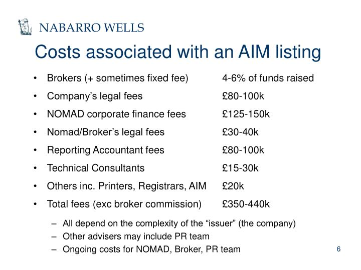 Costs associated with an AIM listing
