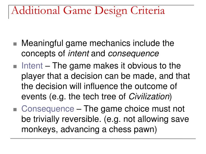 Additional Game Design Criteria