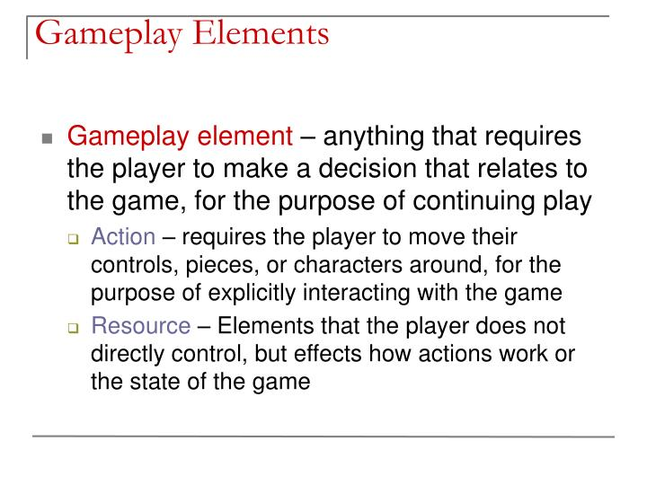 Gameplay elements