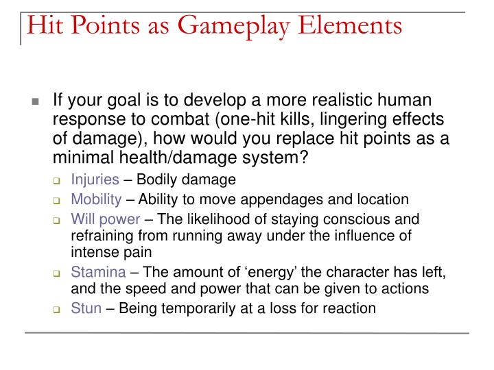 Hit Points as Gameplay Elements