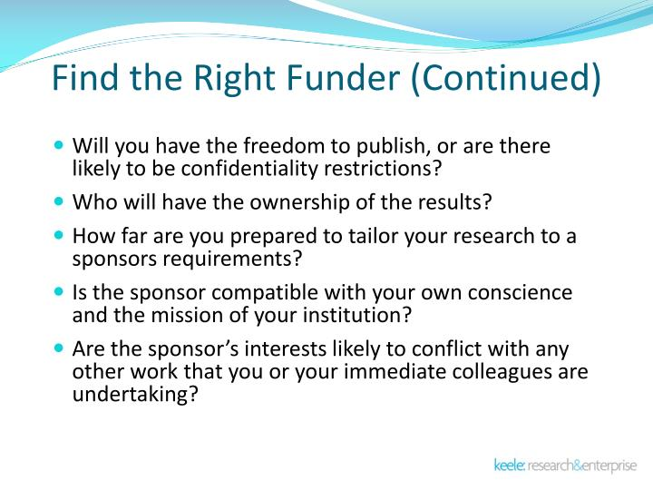 Find the Right Funder (Continued)