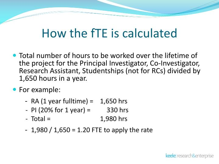 How the fTE is calculated