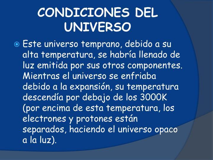 CONDICIONES DEL UNIVERSO