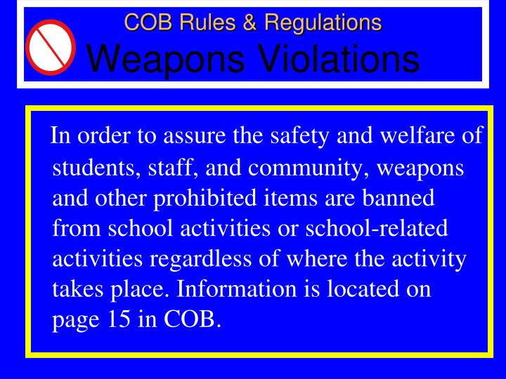 COB Rules & Regulations