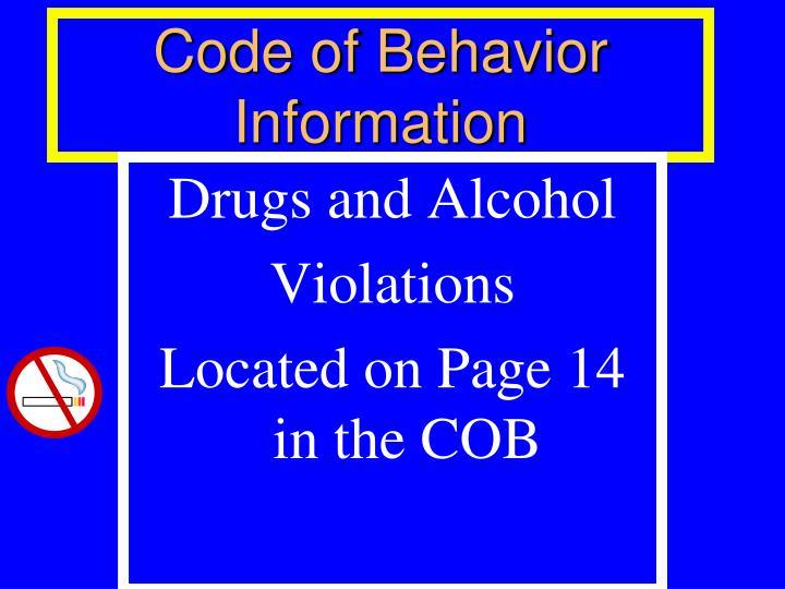 Code of behavior information