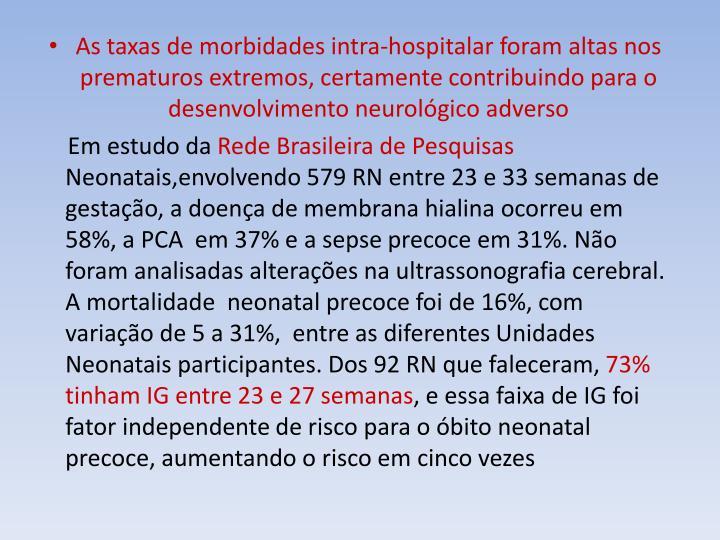 As taxas de morbidades intra-hospitalar foram altas nos prematuros extremos, certamente contribuindo para o desenvolvimento neurológico adverso