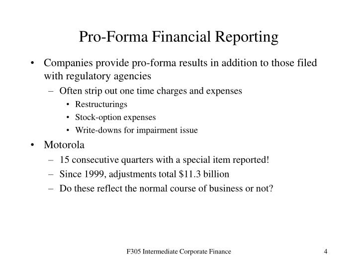 Pro-Forma Financial Reporting