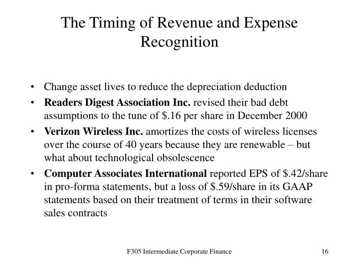 The Timing of Revenue and Expense Recognition