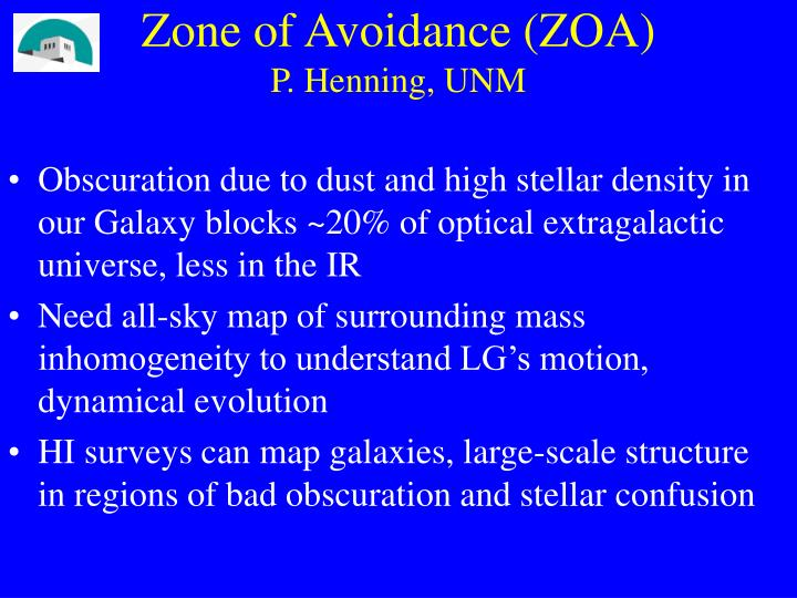 Zone of avoidance zoa p henning unm