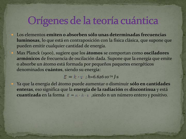 Orígenes de la teoría cuántica
