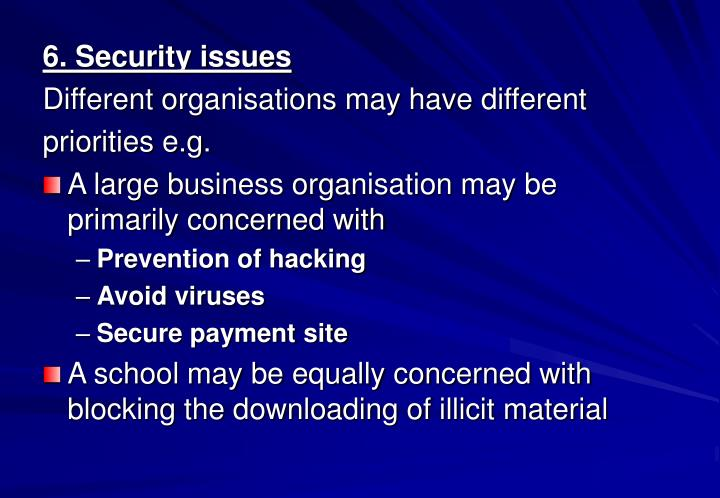 6. Security issues