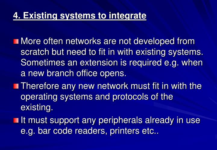4. Existing systems to integrate
