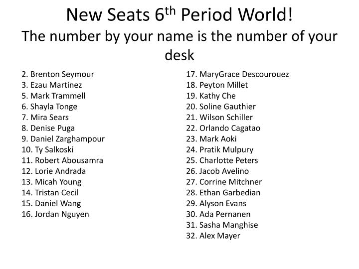 new seats 6 th period world the number by your name is the number of your desk n.