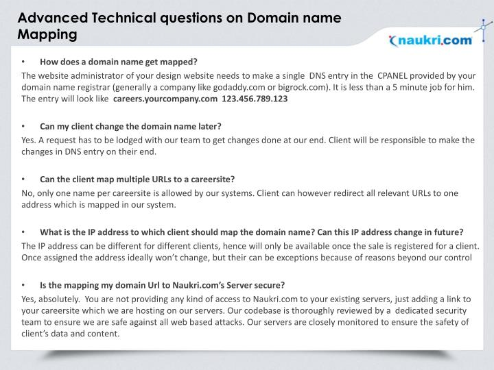 Advanced Technical questions on Domain name Mapping