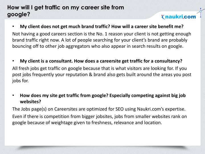 How will I get traffic on my career site from google?