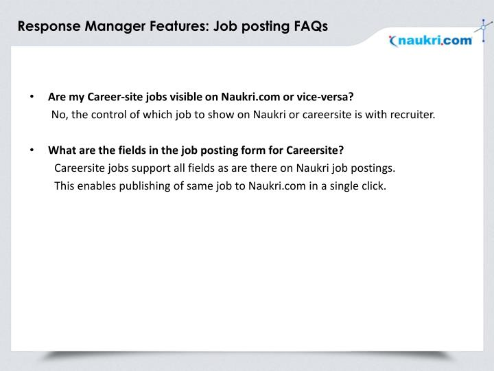 Response Manager Features: Job posting FAQs