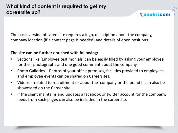 What kind of content is required to get my careersite up?