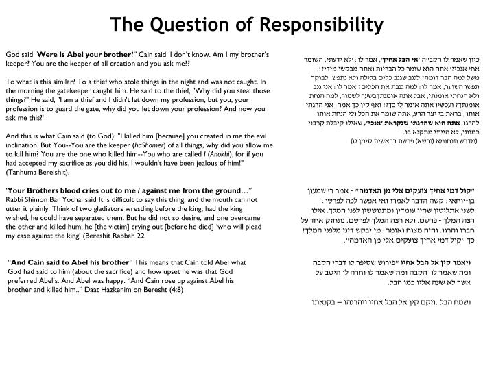 The Question of Responsibility