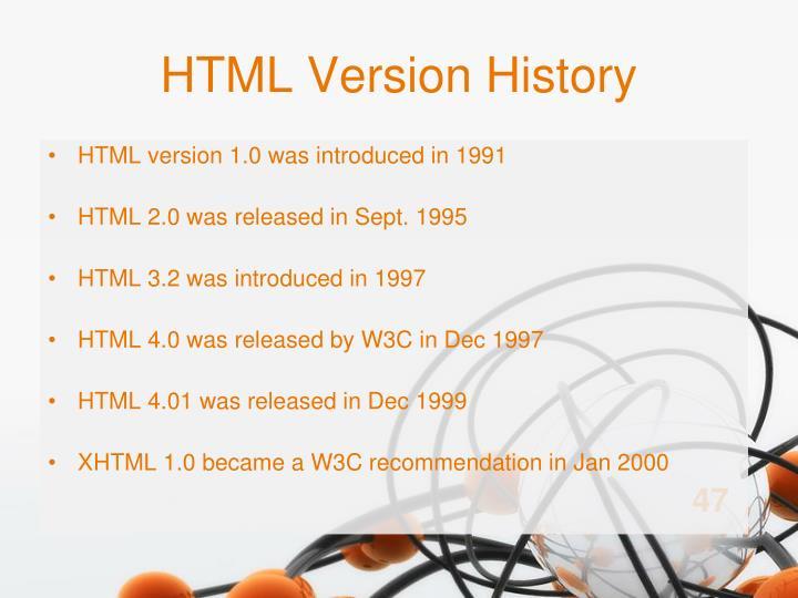 HTML Version History