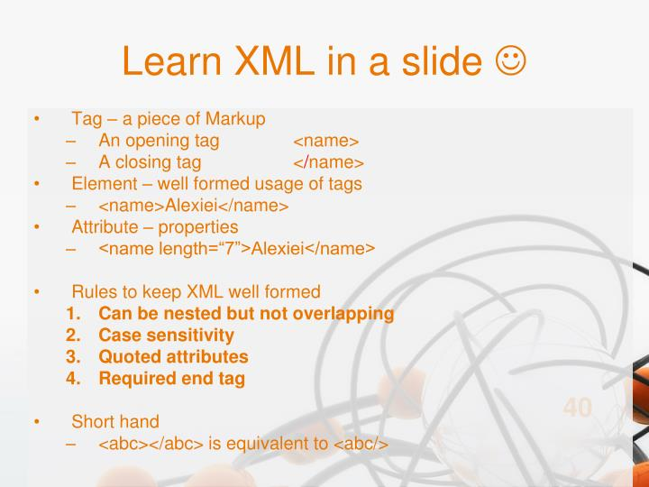 Learn XML in a slide