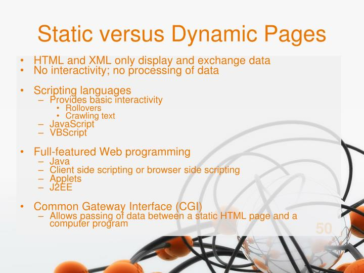 Static versus Dynamic Pages