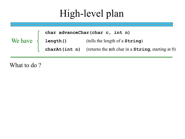 High-level plan