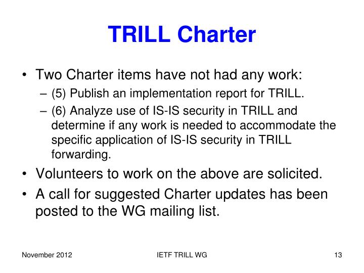 TRILL Charter