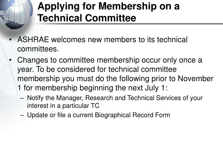 Applying for Membership on a Technical Committee