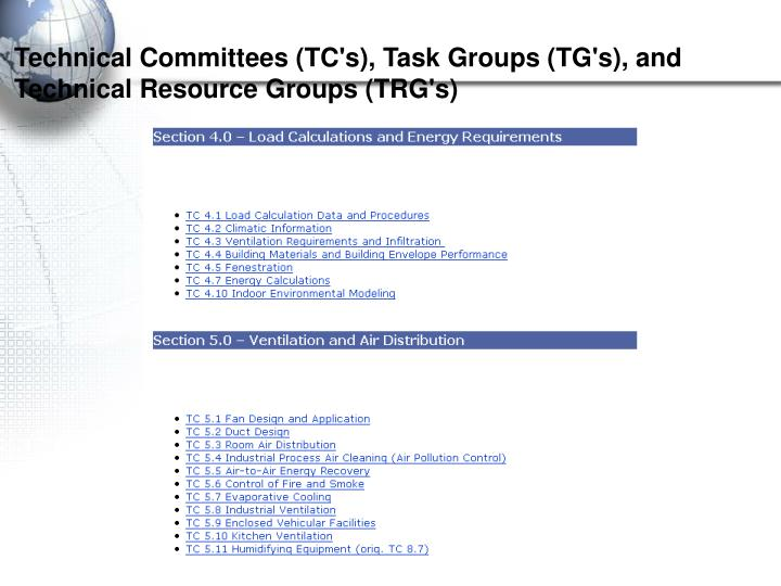 Technical Committees (TC's), Task Groups (TG's), and Technical Resource Groups (TRG's)