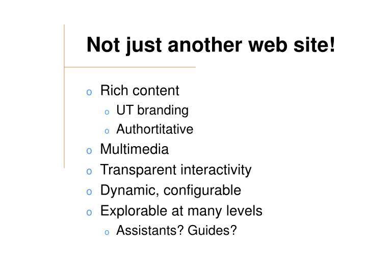 Not just another web site!