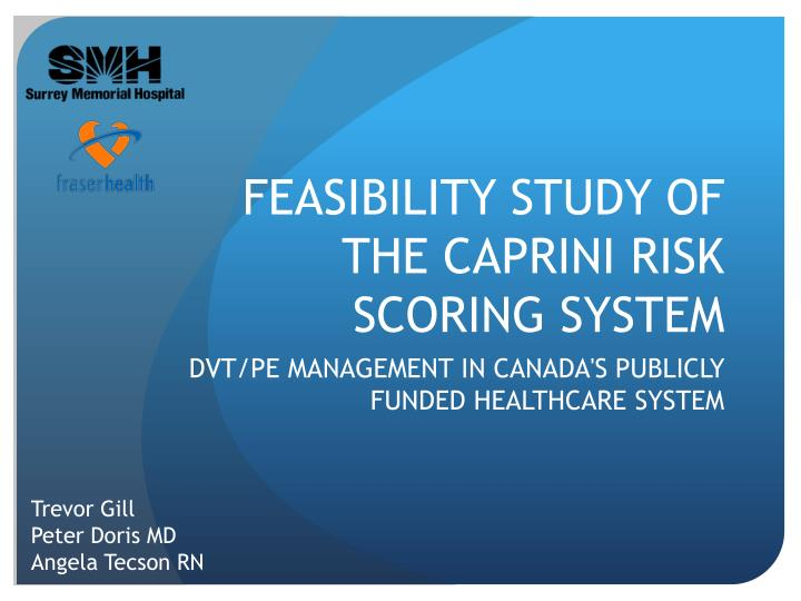 feasibility study of the caprini risk scoring system n.