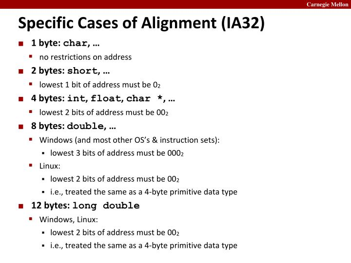 Specific Cases of Alignment (IA32)