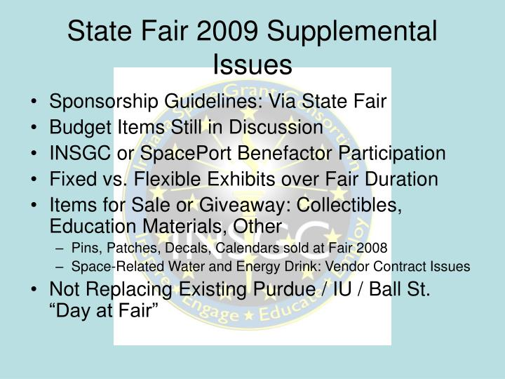 State Fair 2009 Supplemental Issues