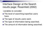 interface design at the search results page rosenfeld 2002
