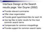 interface design at the search results page van duyne 2002